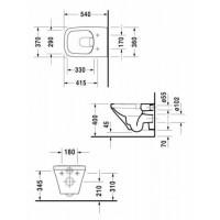 2551090000 Durastyle унитаз подвесной без ободка, скрытый крепеж + 0063790000 Durastyle сидение с крышкой Soft Close +GEBERIT Комплект 4-в-1:458.161.21.1