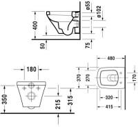 2551090000 Durastyle унитаз подвесной без ободка, скрытый крепеж + 0063790000 Durastyle сидение с крышкой Soft Close