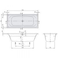 Акриловая прямоугольная ванна Villeroy & Boch Avento 170х75 см UBA170AVN2V-01