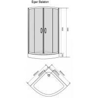 BALATON душевая кабина 90*90*198 см, (поддон PUF)+NOVA VLNA система (смеситель для душа, верхний и ручной душ, 3 режима