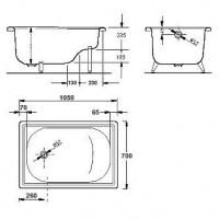 Bанна прямоугольная Aquart 105х70 см с сидением