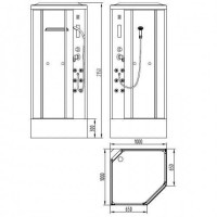 Бокс VOLLE LANVIN 11-88-112 пятиугольный  на глубоком поддоне без пара