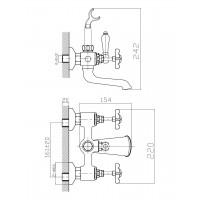 Cмеситель двухвентильный IMPRESE Cuthna stribro 10280 для ванны хром