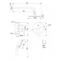 Cмеситель скрытого монтажа IMPRESE JESENIK VR-15140 для душа(смес.с переключ.верхн.душ диам.200ммручной душ 120мм3режима)