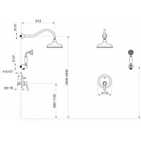 Cмеситель скрытого монтажа IMPRESE PODZIMA LEDOVE ZMK01170111 для душа(смес.с переключ.верхн.душ диам.170 мм, ручной душ 1 режим)