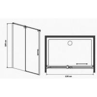 Душевая дверь EGER 120*185, профиль хром, стекло прозрачное, 599-153(h)