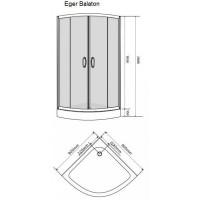 Душевая кабина Eger BALATON 90*90*185, профиль хром, стекло тонированное 6 мм, 599-507/1