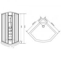 Душевая кабина  EGER SHARKEZA  90*90*205 см, с задней стенкой без крыши, 599-8005