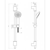 Душевая штанга IMPRESE 6510003 L-65 см ручной душ 3 режима шланг