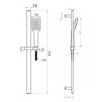 Душевая штанга  IMPRESE 6607001  L-66см ручной душ 1 режимшланг 15мблистер