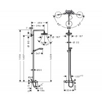 Душевая система Hansgrohe Croma Select S 180 2-jet Showerpipe для ванны, хром ( 27351400 )