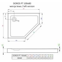 Душевой поддон RADAWAY Doros PT E, 100x80, SDRPT1080-01L/R