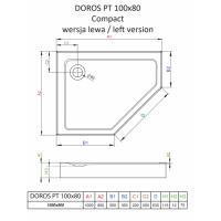 Душевой поддон RADAWAY Doros PT E Compact, 100x80, SDRPTP1080-05L/R