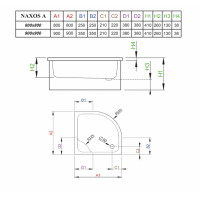 Душевой поддон RADAWAY Naxos A, 80x80, SBA8841-1