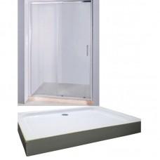 Дверь в нишу раздвижная KERAMAC 120*185см + Поддон мелкий прямоугольный 120*80*15см