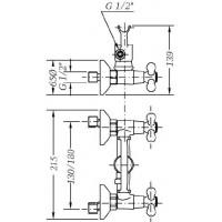 Двухвентильный смеситель для душа GENEBRE NRC c душевым гарнитуром  (68531 09 43 66)