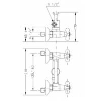 Двухвентильный смеситель для душа GENEBRE NRC c душевым гарнитуром  (68531 09 45 66)