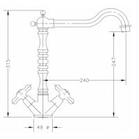 Двухвентильный смеситель для кухонной раковины GENEBRE NRC (68595 09 45 66)