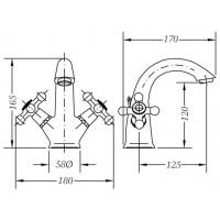 Двухвентильный смеситель для раковины GENEBRE NRC (68506 09 43 66)