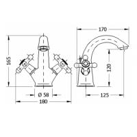 Двухвентильный смеситель для раковины GENEBRE NRC (68506 09 45 66)