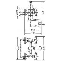 Двухвентильный смеситель  для ванны GENEBRE NRC  с душевым гарнитуром  (68526 09 43 66)