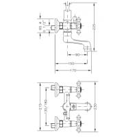 Двухвентильный смеситель  для ванны GENEBRE NRC  с душевым гарнитуром  (68526 09 45 66)