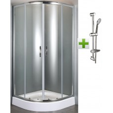 FIESTA душевая кабина 90*90*200 см на мелком поддоне+NEMO штанга душевая L-70 см, ручной душ(100мм) 3 режима