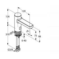 KLUDI ZENTA E электронный смеситель для раковины, со смешиванием, предв.установка.темп., 230 V, 3820205