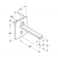KLUDI ZENTA электронный смеситель для умывальника, настен. монтаж, питание от сети 240В или батарейки,3840005