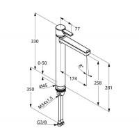 KLUDI ZENTA однорычажный смеситель для раковины, с донным клапаном, высота. 258 мм, 382570575