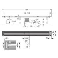 Комплект душевого канала : лоток Advantix Vario, дизайн- вставка Visign SR2 матовая