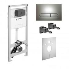 Комплект инсталляции SCHELL  для  унитаза MONTUS C 120 С смывной клавишей хром матовая 030560099+030686499