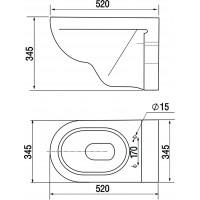 Комплект : Инсталляция NOVA 4501N с кнопкой хром и подвесным унитазом Стиль-N 70655115  с сиденьем