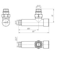Комплект угловых кранов  G1/2 Mario для радиаторов