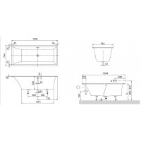 Квариловая прямоугольная ванна Villeroy & Boch Squaro Slimline 170х75 см UBQ170SQS2V-01