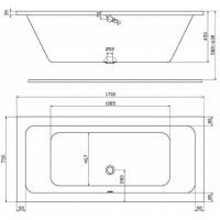 MODO прямоугольная ванна, 170*75 см, центральный слив, с ножками