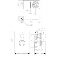 Набор для душа скрытого монтажа GENEBRE с термостатом (Termo1643)