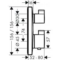 Набор скрытого монтажа для душа с термостатом HANSGROHE Ecostat Square, 2A131218
