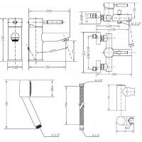 Набор смесителей для ванны без штанги GENEBRE Tau  (03TA1-bath)