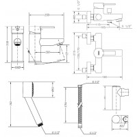 Набор смесителей для ванны без штанги GENEBRE Tau2 (03TA2-bath)