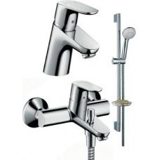 Набор смесителей для ванны HansGrohe Focus WAP 31934000  :31730000 (смеситель для раковины) + 31940000 (смеситель для ванны) + 27763000 (душевой набор CROMETTA 85)