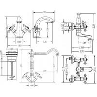 Набор смесителей для ванны и кухни GENEBRE NRC (04NRC-bath)