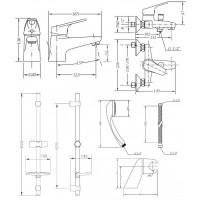 Набор смесителей для ванны со штангой GENEBRE Ge2 (04GE2V17RO)