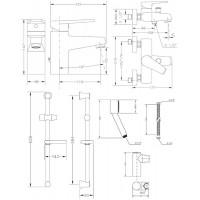 Набор смесителей для ванны со штангой GENEBRE Klip (04KLV17RO)