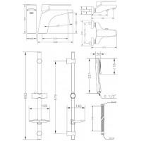 Набор смесителей для ванны со штангой GENEBRE Kode (04KOV17TA)
