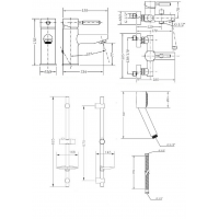 Набор смесителей для ванны со штангой GENEBRE Tau (04TA1V17RO)