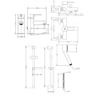 Набор смесителей для ванны со штангой GENEBRE Tau2 (04TA2V17RO)