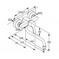 Однорычажный кухонный смеситель настенного монтажа KLUDI LOGO NEO 379240575