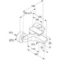 Однорычажный смеситель для ванны и душа KLUDI  PURE&STYLE, 406810575