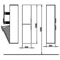 Пенал Kolo TWINS 140 см белый / венге